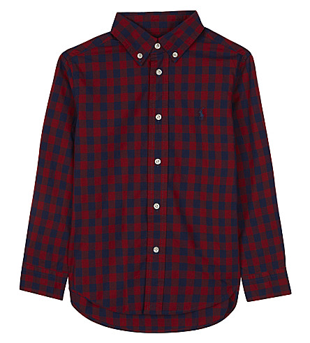 RALPH LAUREN Long-sleeve checked shirt 2-7 years (Red+multi