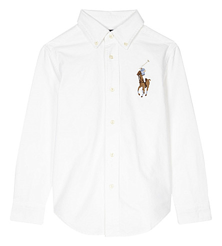 RALPH LAUREN Embroidered logo cotton shirt 2-7 years (Bsr+white