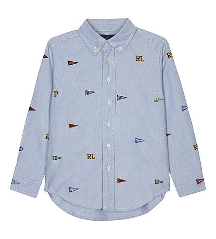 RALPH LAUREN Appliqué logo long sleeve shirt 2-7 years (Bsr+blue