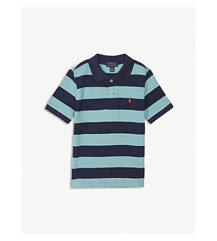 RALPH LAUREN Pony striped piqué-cotton polo shirt 2-4 years (Seafoam