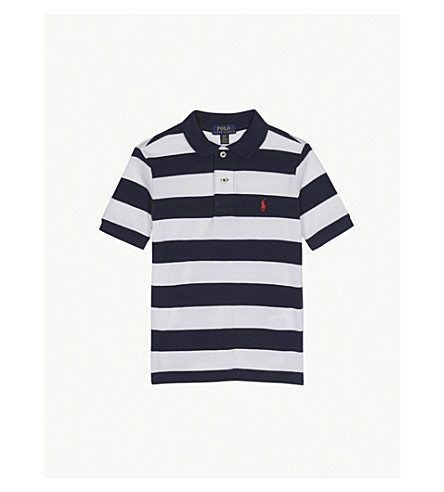 RALPH LAUREN Pony striped piqué-cotton polo shirt 2-4 years (Navy+multi