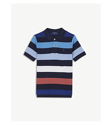 RALPH LAUREN Striped cotton polo shirt 2-4 years (Navy+multi