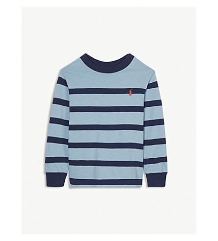 RALPH LAUREN Striped crew neck cotton long-sleeved T-shirt 2-4 years (Navy+multi
