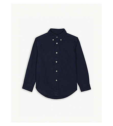 RALPH LAUREN Pony pique-cotton Oxford shirt 2-4 years (Newport+navy