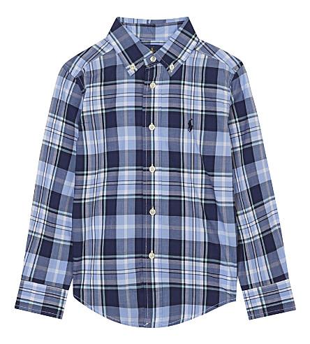 RALPH LAUREN 格子府绸衬衫2-4 年 (蓝 + 多
