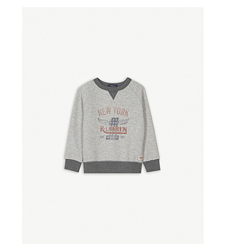 RALPH LAUREN New York logo cotton-blend jumper 2-4 years (Light+grey