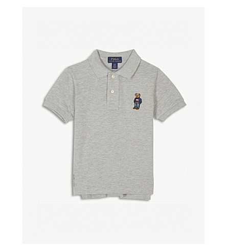 RALPH LAUREN Embroidered bear logo polo shirt 2-4 years (Heather