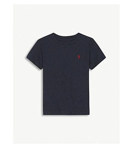 RALPH LAUREN Crew neck embroidered logo cotton T-shirt 2-4 years (Navy+heather