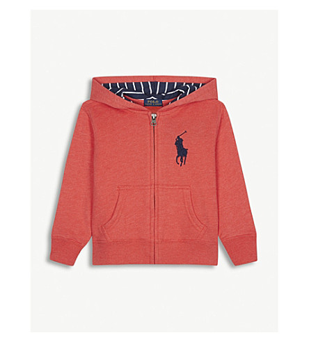 RALPH LAUREN Embroidered logo zip-through cotton-blend hoody 6-14 years (Orange+red