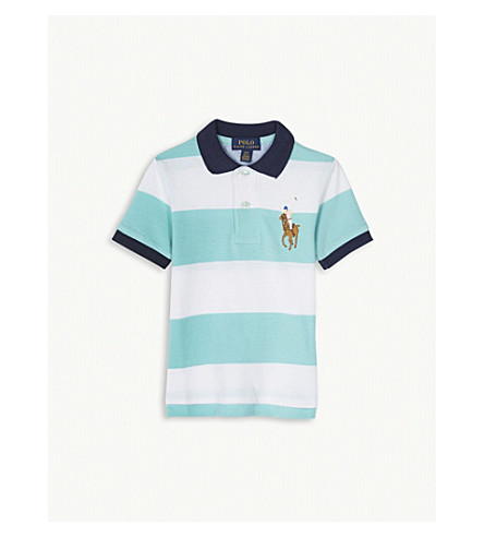 RALPH LAUREN Striped cotton mesh polo shirt 2-4 years (Light+mint
