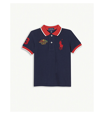RALPH LAUREN Embroidered logo cotton polo shirt 2-4 years (Newport+navy