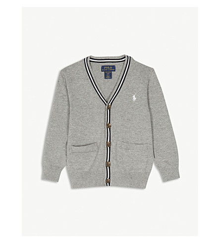 RALPH LAUREN Embroidered logo striped cotton cardigan 2-4 years (Andover+heather+multi