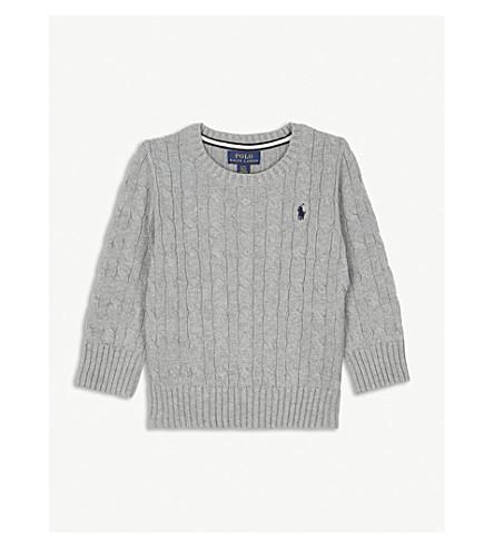 RALPH LAUREN Cable knit cotton sweatshirt 2-7 years (Andover+heather