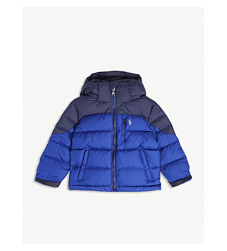 RALPH LAUREN Colour block down jacket 2-7 years (Rugby+royal