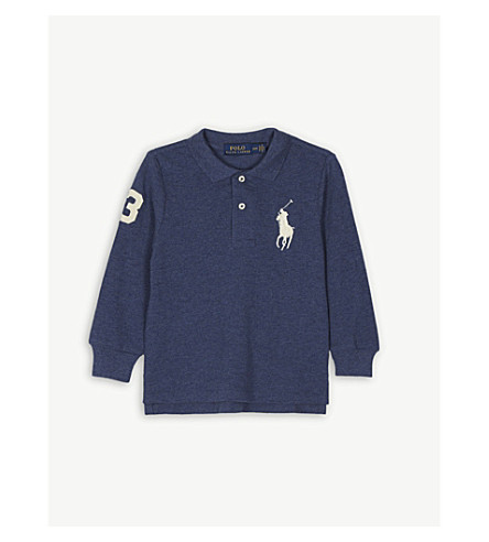 RALPH LAUREN Big logo cotton polo shirt 2-7 years (Navy+heather