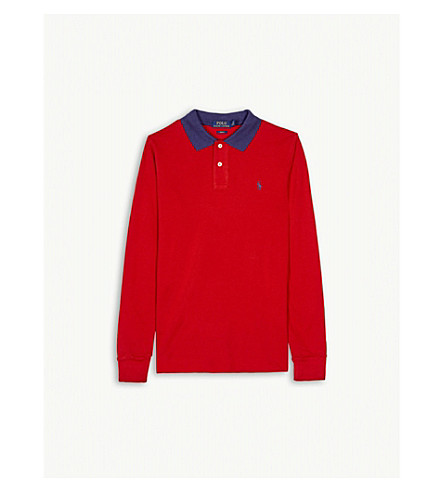 RALPH LAUREN Long-sleeved cotton polo shirt 6-14 years (Faded+red
