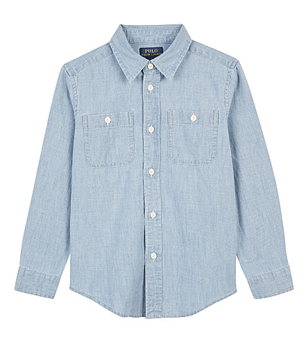 RALPH LAUREN Workshirt denim long-sleeved shirt 5-7 years (Medium+blue