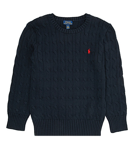 RALPH LAUREN Cable-knit jumper 5-7 years (Hunter+navy