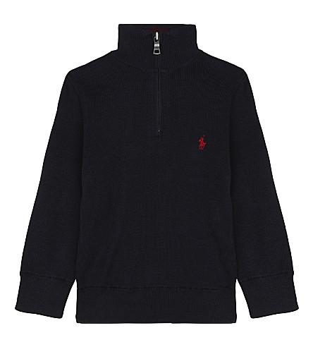 RALPH LAUREN Pony cotton half-zip jumper (Hunter+navy