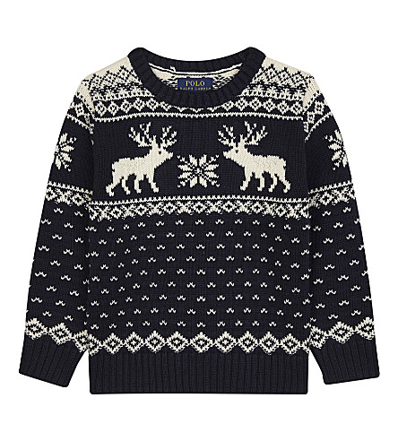 RALPH LAUREN Reindeer print cotton-wool jumper 4-7 years (Hunter+navy+mul