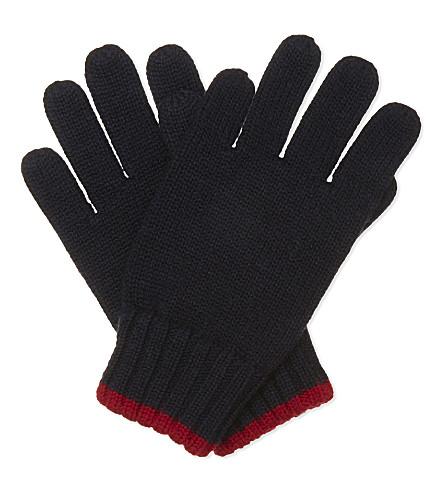 RALPH LAUREN Logo wool gloves (Hunter+navy