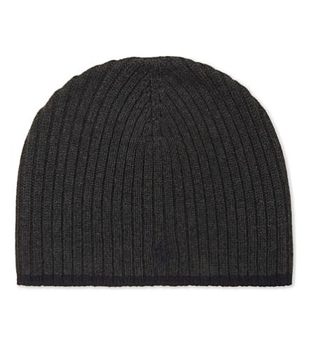 RALPH LAUREN Logo wool beanie (Dark+charcoal+h