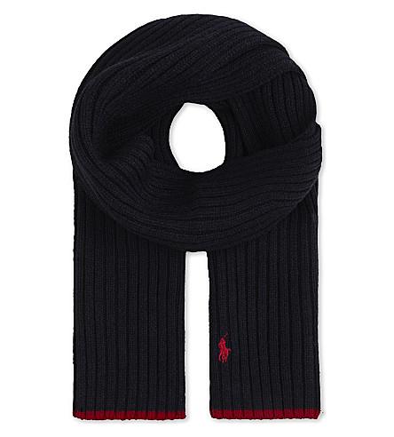 RALPH LAUREN Logo-embroidered wool scarf (Hunter+navy