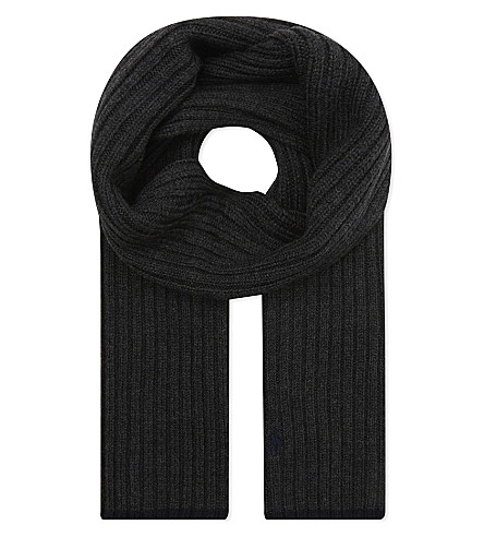RALPH LAUREN Embroidered logo wool scarf (Dark+charcoal+h