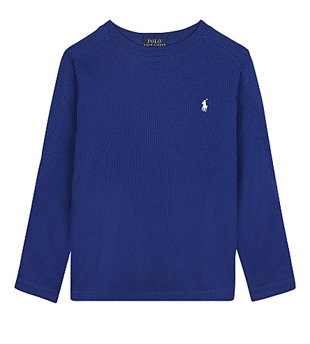 RALPH LAUREN Waffle-knit cotton top 2-7 years (College+royal