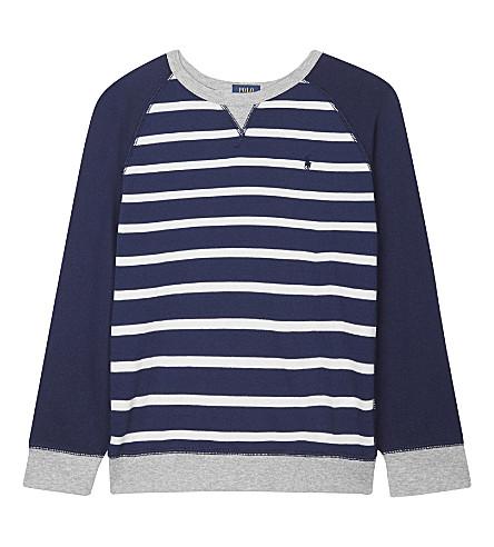 RALPH LAUREN 条纹棉运动衫5-7 年 (海军 + 多