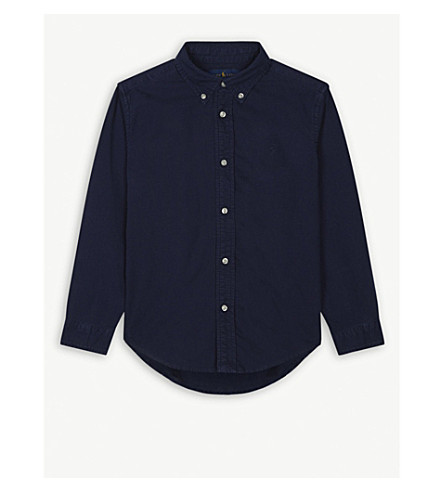 RALPH LAUREN Pony pique-cotton Oxford shirt 5-7 years (Newport+navy