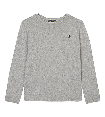 RALPH LAUREN 乘员组脖子棉运动衫5-7 年 (轻 + 灰色