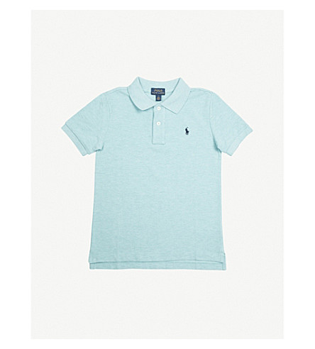 RALPH LAUREN Embroidered logo cotton-piqué polo shirt 5-7 years (Aqua+heather