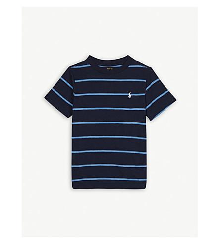RALPH LAUREN Pony striped cotton T-shirt 5-7 years (Navy+heather