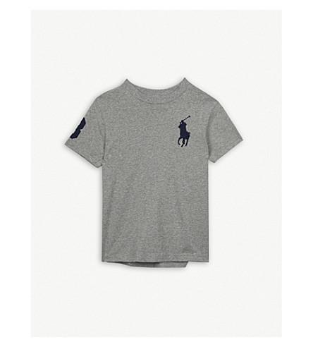 RALPH LAUREN Oversize logo cotton T-shirt 5-7 years (Andover+heather