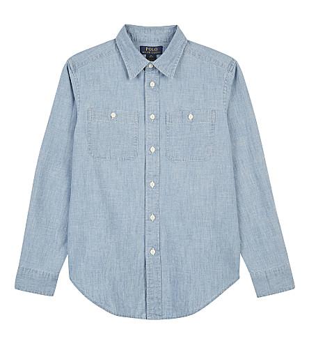 RALPH LAUREN Buttoned cotton work shirt 6-14 years (Medium+blue