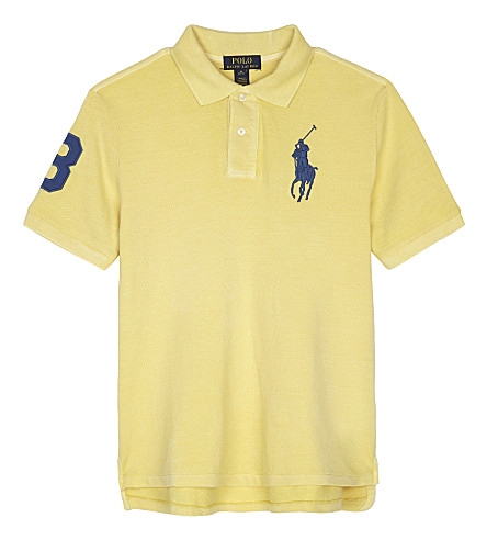 RALPH LAUREN Embroidered logos cotton polo shirt 6-14 years (Banana+peel