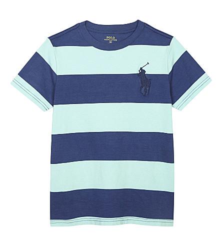 RALPH LAUREN Big Pony striped cotton T-shirt 6-14 years (Bayside+green+m