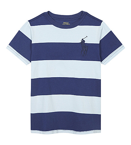 RALPH LAUREN Big Pony striped cotton T-shirt 6-14 years (Naples+blue+mul