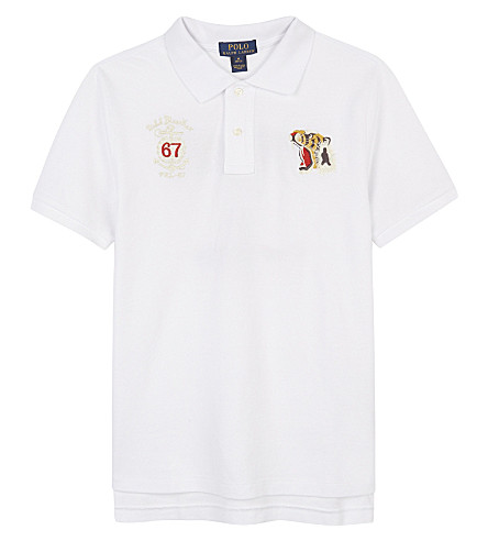 RALPH LAUREN Novel piqué cotton polo shirt 6-14 years (White
