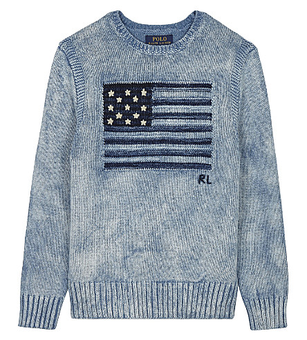 RALPH LAUREN Flag knitted cotton jumper 6-14 years (Light+indigo