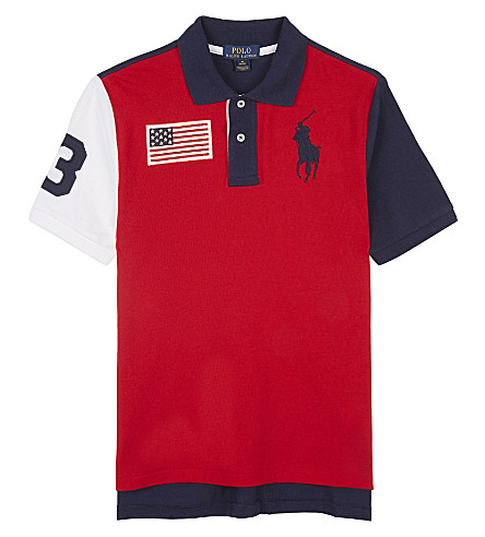 RALPH LAUREN Embroidered logos cotton polo shirt 6-14 years (Rl+2000+red