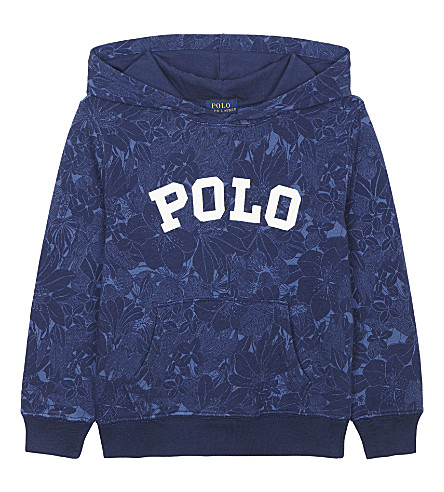 RALPH LAUREN Polo floral print cotton hoody 6-14 years (Blue+tropical