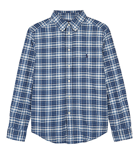 RALPH LAUREN Embroidered logo plaid cotton shirt 6-14 years (Indigo/white