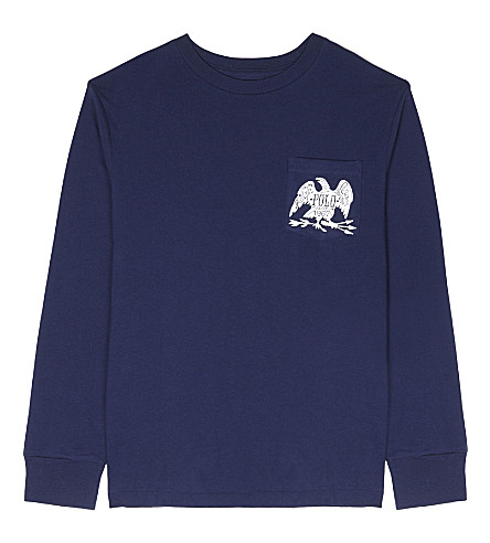 RALPH LAUREN Printed cotton long-sleeved pocket detail top 6-14 years (Dark+cobalt