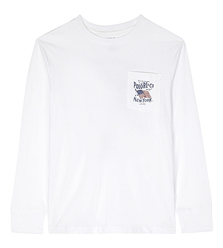 RALPH LAUREN Printed cotton long-sleeved pocket detail top 6-14 years (White