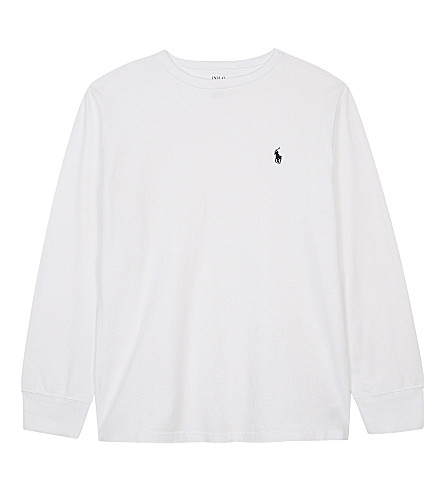 RALPH LAUREN Logo cotton long-sleeved top 6-14 years (White