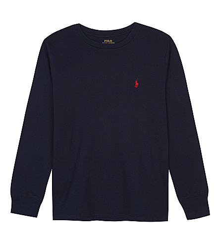 RALPH LAUREN Logo cotton long-sleeved top 6-14 years (Newport+navy