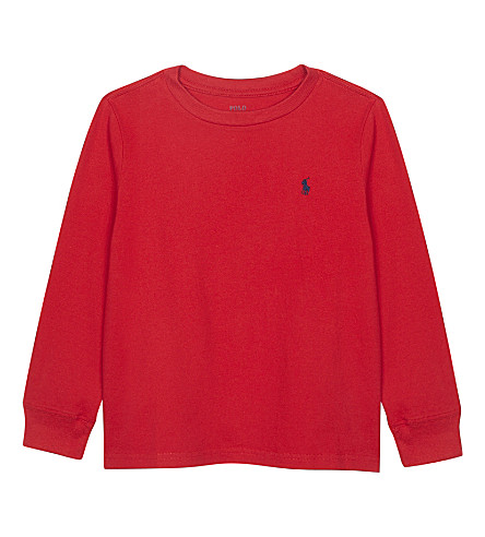 RALPH LAUREN Pony cotton long-sleeved top 6-14 years (Rl2000+red