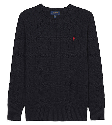RALPH LAUREN Embroidered logo cable knit cotton jumper 6-14 years (Hunter+navy